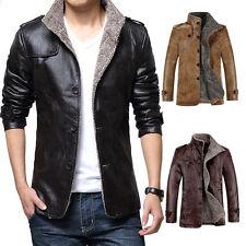 Winter Men's Warm Jacket Leather Coat Fur Parka Fleece Jacket Thick Overcoat Top