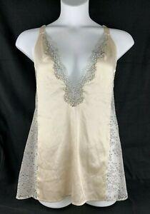 Victoria's Secret Camisole Size Large Champagne Satin Gray Lace Trim Racerback