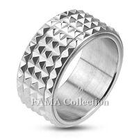 Unique FAMA 10mm Stainless Steel Pyramid Spiked Spinner Ring Size 9-14
