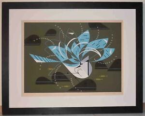Listed America Artist Charley Haper, Signed Original Silkscreen Blue Jay