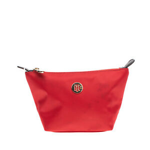 TOMMY HILFIGER Clutch Cosmetic Bag Logo Detail Slouchy Design Zip Closure