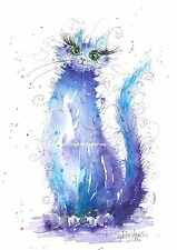 Watercolour Painting MIDNIGHT CAT by Sophie Appleton A4 replica of Original Art