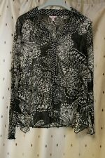 Per Una ~ Black & White Sheer Floral Top With Stretch ~ Size 12