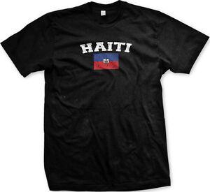 Haiti Distressed Soccer Flag - Hatian Pride Nationality Mens T-shirt