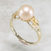 Hawaiian Jewelry14k Solid Yellow Gold Plumeria AAA Peach Cultured Pearl Ring TPJ