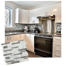 Self Adhesive 3D Tile Marble Grey Oblong Wall Sticker Home Kitchen Room Decor