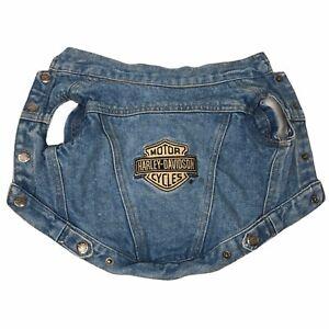 Vintage 2001 Harley-Davidson Embroidered Dog Vest Pet Denim Jean Jacket Size S