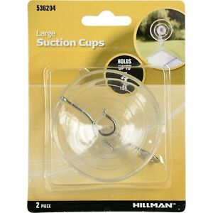 Hillman Suction Cups, Large (Holds 5lbs) 2 Count - NEW