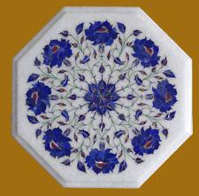 "12"" Marble Coffee Corner Table Lapis Semi Precious Stone Floral Handicraft"
