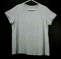 Cato Women's Plus Size 18/20W Short Sleeve Crew Neck Plain Classic T-Shirt Gray