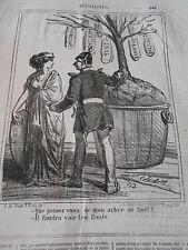 Caricature 1866 Arbre de Noel il faudra avoir les fruits Francfort Saxe