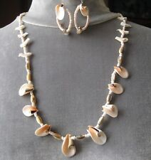 "Vintage Heishi Seashell Fetish Birds 26"" Necklace & Earrings Set PowWow or WOW"