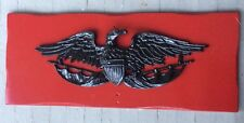Vintage American Eagle Black Cast Metal Red Wood Wall Plaque Sign Handmade 32x13
