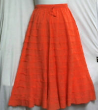 Women Clothing Elastic Waist long Embroidery Skirt 100% Cotton Free Size Orange