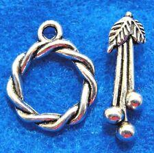 50Sets WHOLESALE Tibetan Silver ROUND Twist FLOWER Toggle Clasps Hooks Q0983