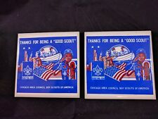 (2) BSA BOY SCOUTS OF AMERICA TILE Chicago Area Council Good Scout Award 1970s