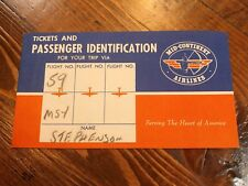1940s Mid Continent Airlines Passenger Ticket Folder Envelope Travel Texaco Ad