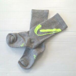 Nike Boys Everyday Cushioned Crew Socks - SX6955 - Light Gray - Size M - NEW