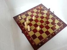 """deal classic  3 in 1 Folding 13.5"""" Wooden Chess Backgammon Draughts Checkers Set"""