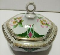Antique Austria MZ Porcelain Pottery Sugar Bowl Bright Green Pink Gold