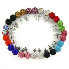 14pairs~  women Bling Ball Stud Earrings Rhinestone Clay beads crystal wholesale