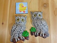 "SCREECH OWL Wall Hanging Set of 2 Gray Bird on Branch 8"" Vintage Plaster MCM"