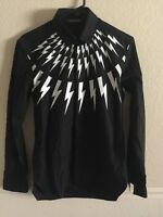 Neil Barrett Men White Lightning Bolt Print Long Sleeve Shirt Size Small