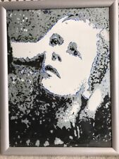 """Rare David Bowie Hunky Dory Oil on Canvas Original by Barrie Jones 17.75x13.75"""""""