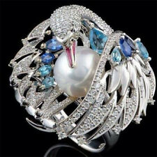 Silver Natural Blue Topaz Bird Animal Jewelry Pearl Women Party Ring Size 6