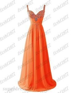 Long Chiffon Formal Lace Evening Ball Gown Party Prom Bridesmaid Dress Size 6-26
