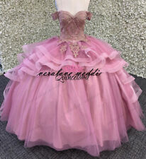 Pink Ball Gown Quinceanera Dresses Off the Shoulder Tulle Lace Applique Sweet 16
