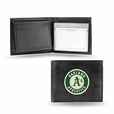 Oakland Athletics A's Wallet Premium Black LEATHER BillFold Embroidered Baseball