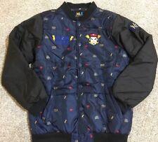 New York Yankees Nintendo Vintage Nylon Blue Black Bolt Jacket Coat Super Rare!