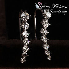 18K White Gold Plated Simulated 7 Diamond Row Delicate Climber Earrings