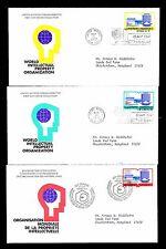 1977 UN WORLD INTELLECTUAL PROPERTY FDC - NY & GENEVA - LOT OF 3 (ESP#L4503)