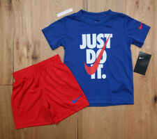 Nike Baby Boy 2 Piece T-Shirt & Shorts Set ~ Blue, Red & White ~ DRI-FIT ~