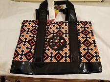 MWT Tory Burch 4T Printed Canvas and Leather Orange Navy Large TOTE Handbag