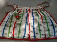 New listing Vintage 1960's Woven Dishtowel Kitchen Half Apron w/Crochet Pocket & Trim