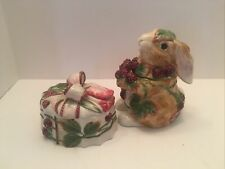 Fitz And Floyd Blackberry  bunny Rabbit Lidded Box also trinket box dish