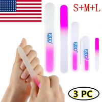 3pc Durable Crystal Glass Buffer Nail File Manicure for Fingernail Toenail Care