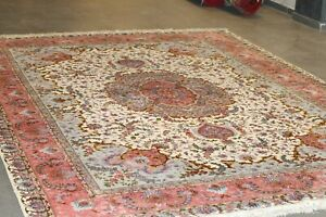 Authentic royal pers-ian Tab-riz wool and silk rug hand knotted 11.5 x 8 FT