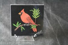 """RAY SWARTZ HAND COLORED CARDINAL ART ETCHING ON SLATE SIGNED 4X4"""" W/ STAND"""