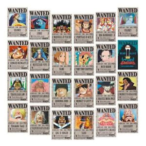 24 One Piece Anime Straw Hat Pirates Wanted Posters