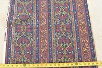 By 1/2 Yd, Burgundy Gold & Green Floral Striped Quilt Cotton, P&B/Sampou, P3166