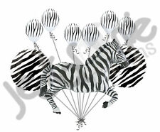 9 pc Zebra Balloon Bouquet Happy Birthday Decoration Safari Jungle Animal Zoo