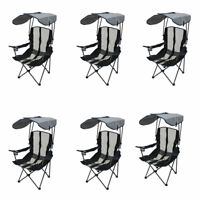 Kelsyus Premium Portable Camping Folding Lawn Chair with Canopy, Navy (6 Pack)