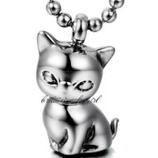 "Lovely Stainless Steel Small Cute Kitty Cat Pendant Necklace with 22"" Ball Chain"