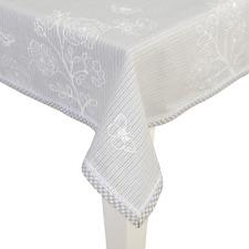 Clayre & Eef Tischdecke beige weiß gestreift mit Blumenaufdruck  Neuware