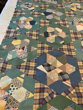 """Vintage Quilt top, 51"""" x 82"""" Green and blue with a gold plaid Star design (536R)"""