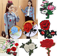 11pcs Embroidered Rose Flower Iron on Sew Bag Hat Dress Patch Badge Applique New
